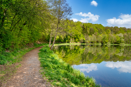trail along the littoral at holzmaar with reflections of the sky, eifel, germany