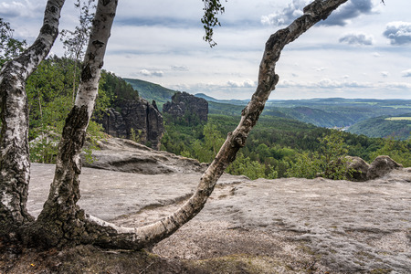 panoramic view of landscape in saxon switzerland on trail to schrammstein panoramic view, germany