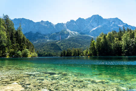 View on the beautiful zugspitze mountain and the eibsee in bavaria, germany