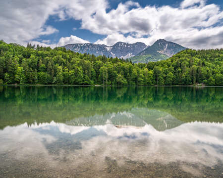 View on alpsee in the bavarian alps near fuessen, bavaria, germany