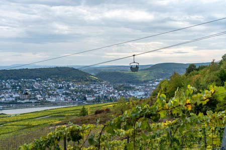 view on Cable car to Niederwald Monument rhine during fall in ruedesheim, middle rhine valley, germany