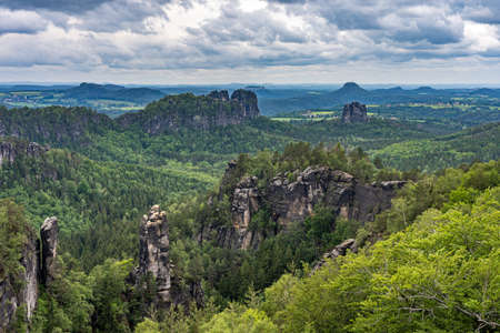 panoramic view on schrammsteine and landscape in saxon switzerland on hiking trail germany