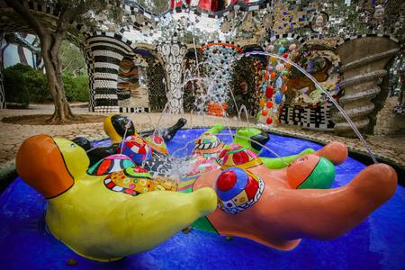 Majolica fountain in the Tarot Garden