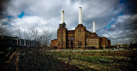 Ancient thermoelectric coal power plant on the banks of the Thames
