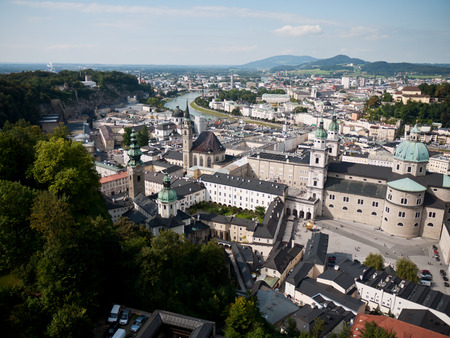 amadeus: Beautiful view from the fortress at the old town, Salzburg, Austria Stock Photo