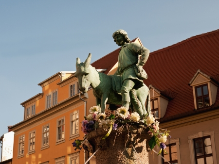 house donkey: Fountain with donkey, Halle, Germany