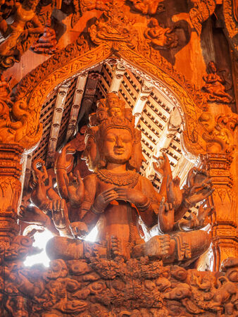 Wooden statue, Thailand photo