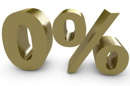 Zero percent in three dimensional - gold color Stock Photo - 6662592