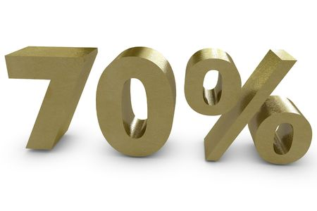 Seventy percent in 3d - gold color photo