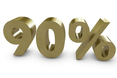 ninety: Ninety percent in 3d - gold color Stock Photo