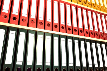 archiving: Archive folders rendered in 3d with sunlight effect Stock Photo