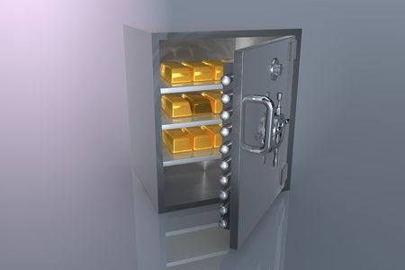 3D bank safe with gold bar Stock Photo - 6662843