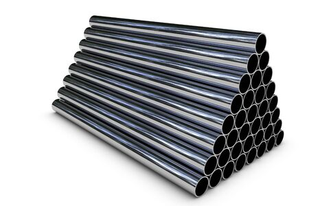 High quality render of stacked steel pipe Stock Photo - 6662771