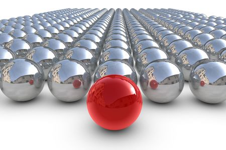 Red leader sphere with chrom spheres