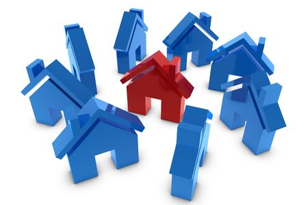 3D house symbol in red and blue