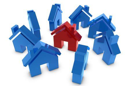 Symbol 3D dom w czerwony i niebieski Zdjęcie Seryjne