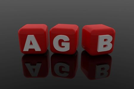 tidings: AGB letter with red cubes Stock Photo