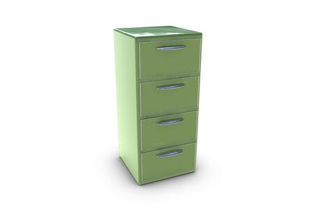 3D render of a filing cabinet isolated on white