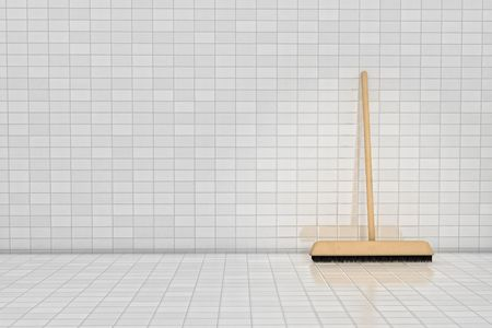 Broom on tile wall in 3D
