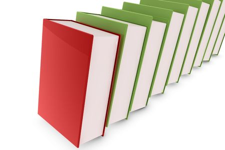 Red book lying on green books photo