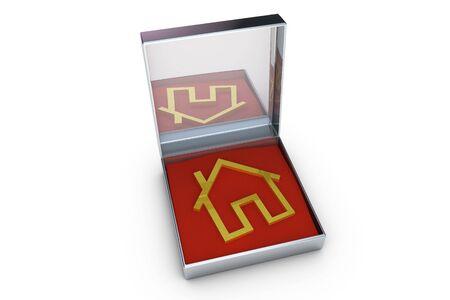 investment real state: S�mbolo de la casa de oro en una caja met�lica
