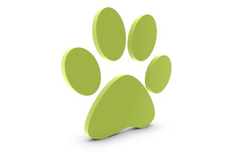 Cats paw in green on white background