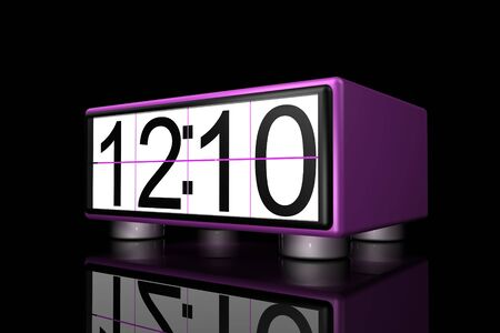 chrom: 3d old style clock on black background Stock Photo