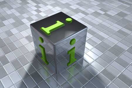 Info cube symbol on tile floor photo