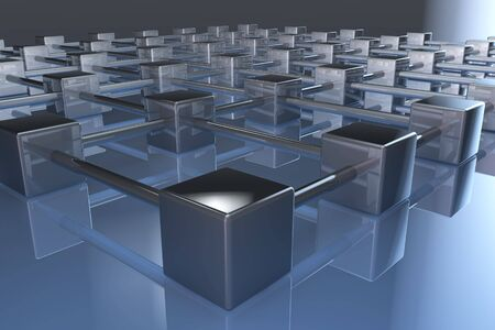 3d network cube connections mirroring on floor Stock Photo - 6662967