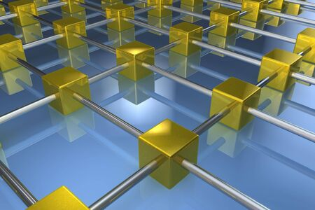 Golden cube network in 3d photo