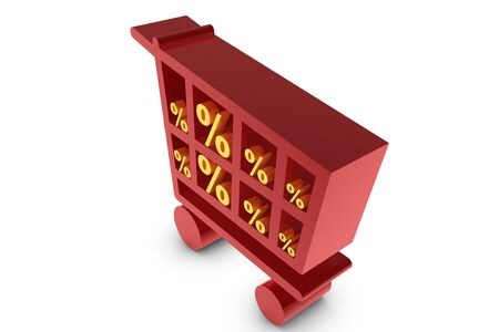 symbols commercial: Red shopping cart with golden percent symbol