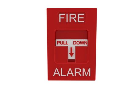 Red fire alarm on white background photo