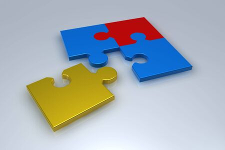 Different collor jigsaw puzzle in 3d Stock Photo - 6662877