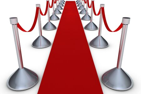 Red carpet on white background photo