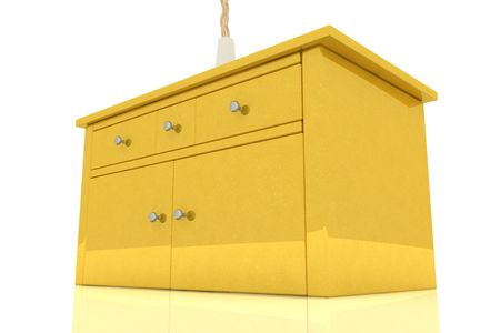 Golden cupboard on white background Stock Photo - 6662895