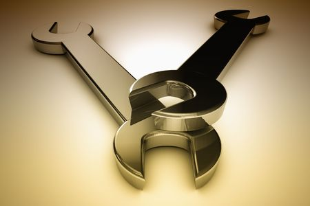 screwing: 3d illustration of two steel wrenches
