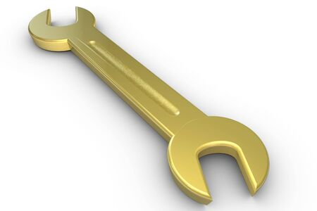 screwing: 3D golden wrench on white Stock Photo