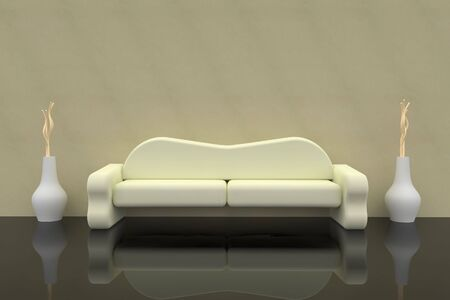 Sofa 3d rendering with vase Stock Photo - 6663124