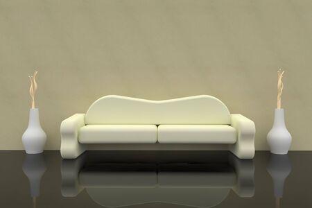 Sofa renderowania 3d z Wazon