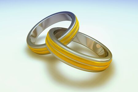 Two wedding ring in 3d