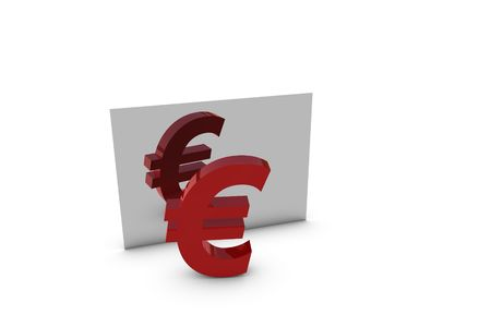 mirroring: Red euro currency - mirroring 3D