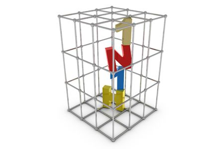 H1N1 letter in cage - 3D photo