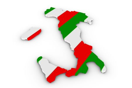 Italy map filled with  italy flag photo