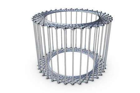 3d rendering cylinder cage - chrome photo