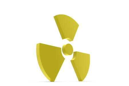 nuke: Yellow nuke symbol in 3D on white background Stock Photo