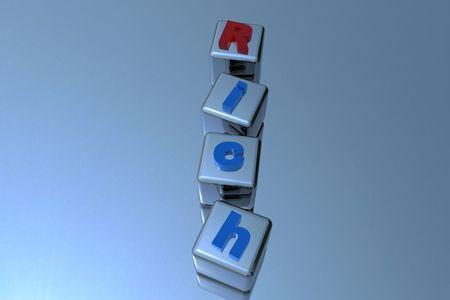 chrom: 3D Rich letter on chrom cubes