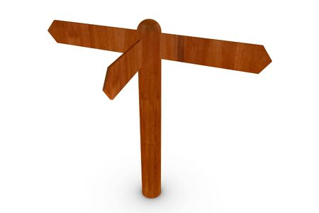guidepost: 3D render illustration of a wood sign post