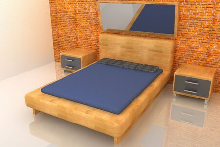 3d wood rendering bedroom with brick wall photo