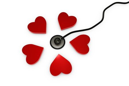 3D Stethoscope with red hearts Stock Photo - 6694730