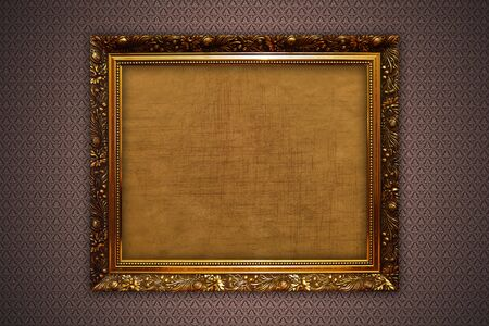 Photo illustration of gold frames on the wall illustration